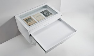 Glass top showcase on drawer unit for museum
