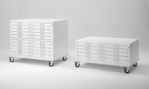 Horizontal plan files with wheels for large format documents storage
