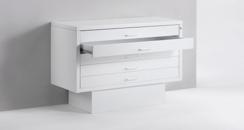 Metal flat drawer cabinet for showroom
