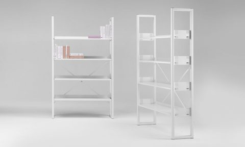 Metal bookcases for office and museum
