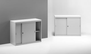 Low metal cabinets with sliding doors for office