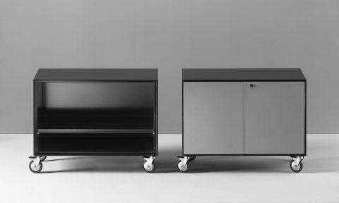 Metal storage cabinet on industrial wheels