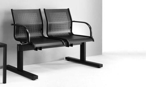 Sedute collettività: panca attesa per ufficio in metallo