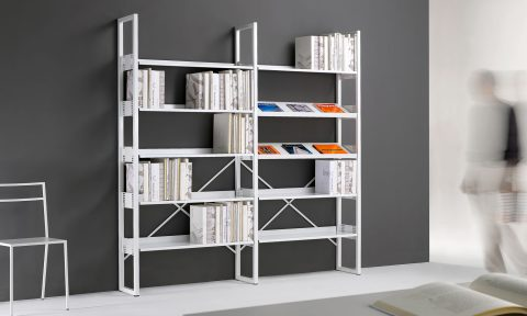 Steel bookcase for library and shop