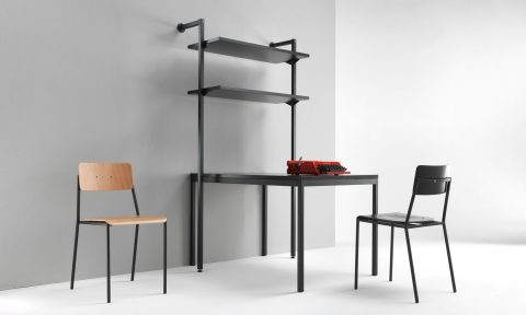Wall bookcase with shelves for contract furniture