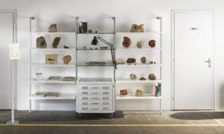 Arredamento museale, sistema espositivo con libreria e cassettiera metallica